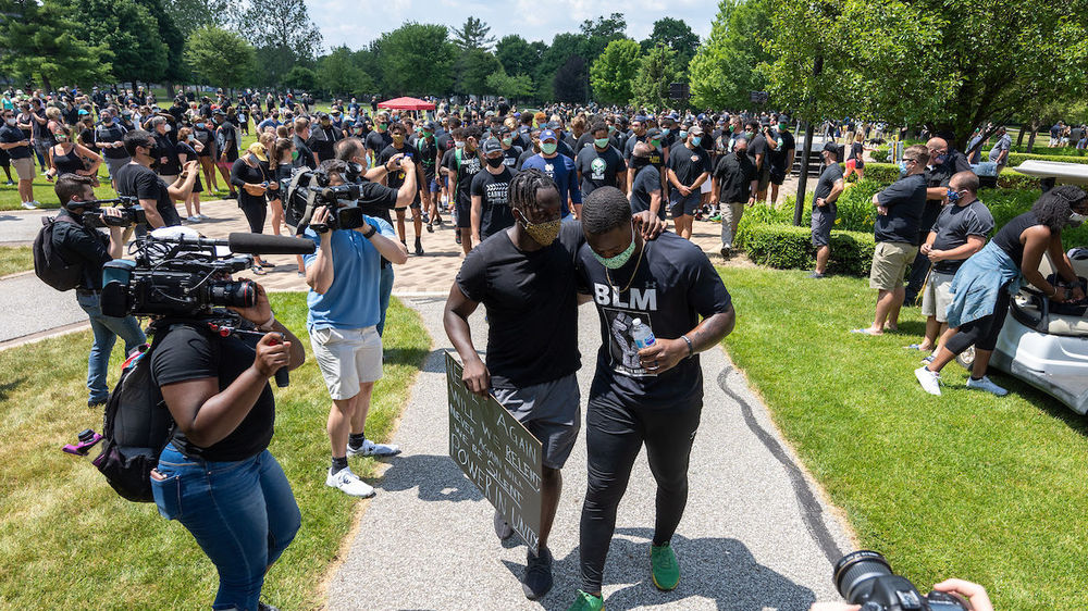 Members of the Notre Dame football team organized a rally and walk for the campus community in recognition of Juneteenth. (Photo by Matt Cashore/University of Notre Dame)