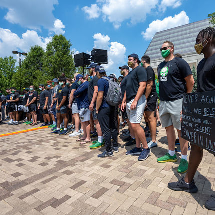 Members of the Notre Dame football team organized and led the rally and walk for the campus community in recognition of Juneteenth. (Photo by Matt Cashore/University of Notre Dame)