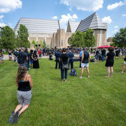 President Rev. John I. Jenkins, C.S.C., gives an opening prayer at the Juneteenth rally and walk for unity. Members of the Notre Dame football team led participants on a walk through campus in recognition of Juneteenth. (Photo by Matt Cashore/University of Notre Dame)
