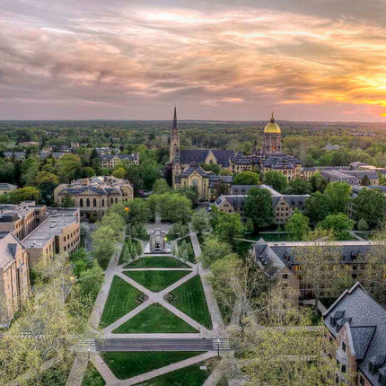 Basilica of the Sacred Heart and Golden Dome at sunset. Photo by Barbara Johnston/University of Notre Dame