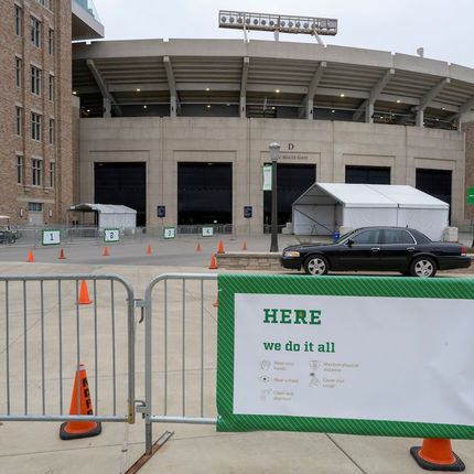 The CRU testing site is at Gate D of Notre Dame Stadium. (Photo by Barbara Johnston/University of Notre Dame)
