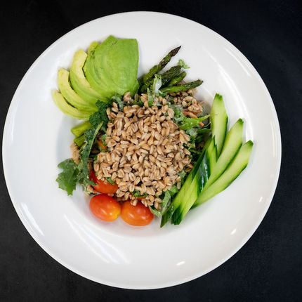 Another fan favorite on the Legends menu is the Farmers' Market Farro Bowl.
