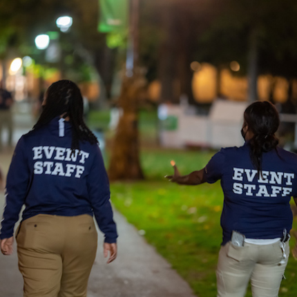 Event staff are on hand to assure that everything runs smoothly.Photo by Matt Cashore/University of Notre Dame.